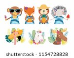 set of cute funny summer... | Shutterstock .eps vector #1154728828