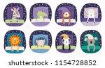 set of cute funny sleeping... | Shutterstock .eps vector #1154728852