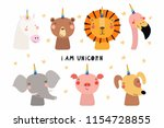 set of cute funny animals with... | Shutterstock .eps vector #1154728855