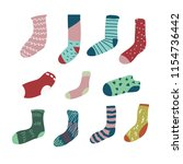 variation color and socks  long ... | Shutterstock .eps vector #1154736442