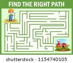 maze game finds the little... | Shutterstock .eps vector #1154740105