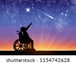 silhouette of a disabled child... | Shutterstock . vector #1154742628