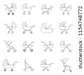 pram stroller carriage cradle...   Shutterstock . vector #1154748772