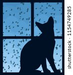window with sky and cat. | Shutterstock .eps vector #1154749285