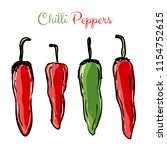 chilli peppers red and green... | Shutterstock .eps vector #1154752615