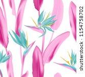 vector pattern with strelitzia... | Shutterstock .eps vector #1154758702