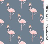 seamless pattern with flamingo... | Shutterstock .eps vector #1154760868