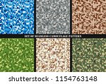 set of multicam camouflage... | Shutterstock .eps vector #1154763148