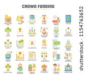 crowdfunding   thin line and... | Shutterstock .eps vector #1154763652