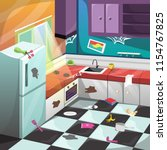 vector dirty kitchen set... | Shutterstock .eps vector #1154767825