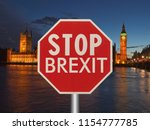 stop brexit sign opposite the... | Shutterstock . vector #1154777785