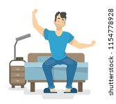 happy man waking up early in... | Shutterstock .eps vector #1154778928