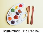 white palette with tasty... | Shutterstock . vector #1154786452