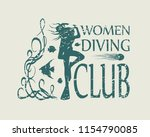 silhouette of diver. graphic... | Shutterstock . vector #1154790085