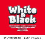 vector white and black alphabet.... | Shutterstock .eps vector #1154791318