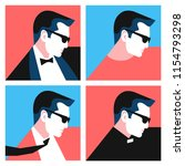 set of abstract man portraits... | Shutterstock .eps vector #1154793298