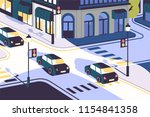 city view with cars driving... | Shutterstock .eps vector #1154841358