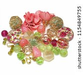 an exotic mix of pink and green ... | Shutterstock . vector #1154849755