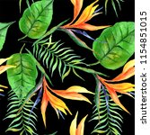 tropical plants pattern in a... | Shutterstock . vector #1154851015