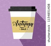 autumn sale lettering text on... | Shutterstock .eps vector #1154851408