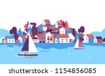 boats over beach seaside island ... | Shutterstock .eps vector #1154856085