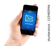 hand holding mobile smart phone ...   Shutterstock . vector #115485946