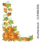 happy halloween trio of carved...   Shutterstock . vector #115486306