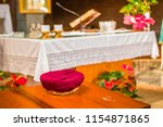 basket for the offertory during ... | Shutterstock . vector #1154871865