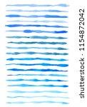 set of vector blue watercolor... | Shutterstock .eps vector #1154872042