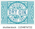 gin label with floral frame | Shutterstock .eps vector #1154876722