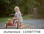 cute toddler child  boy ... | Shutterstock . vector #1154877748