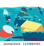 polluted water. fishes dirty... | Shutterstock .eps vector #1154884582