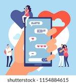 online dating. friendly... | Shutterstock .eps vector #1154884615