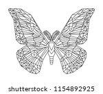 japanese silk moth stylized... | Shutterstock .eps vector #1154892925