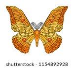 japanese silk moth stylized... | Shutterstock .eps vector #1154892928