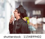 young crazy man as a chef... | Shutterstock . vector #1154899402