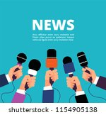 news concept with microphones.... | Shutterstock .eps vector #1154905138