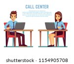 smiling young woman and man... | Shutterstock .eps vector #1154905708