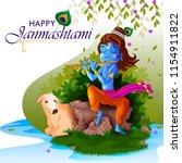 lord krishna indian god... | Shutterstock .eps vector #1154911822