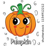cute  funny pumpkin has big... | Shutterstock .eps vector #1154912212