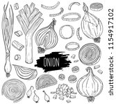 hand drawn onion set. isolated... | Shutterstock .eps vector #1154917102