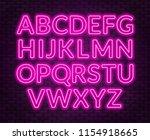 neon pink alphabet on brick...   Shutterstock .eps vector #1154918665
