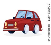 funny cartoon red car. vehicle...   Shutterstock .eps vector #1154926972