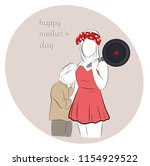 mom with a frying pan hugs the...   Shutterstock .eps vector #1154929522