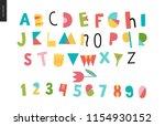 kids flat alphabet set   fun... | Shutterstock .eps vector #1154930152