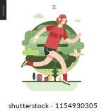 runners   a man running in the... | Shutterstock .eps vector #1154930305