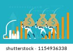 robots caring money bags....   Shutterstock .eps vector #1154936338