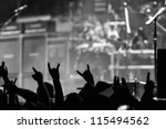 crowd going crazy and putting...   Shutterstock . vector #115494562