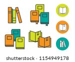 book icons in colored flat line ... | Shutterstock .eps vector #1154949178