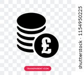 pounds coins stack vector icon... | Shutterstock .eps vector #1154950225